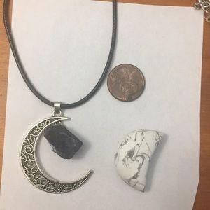 Amethyst moon necklace and Howlite crystal moon